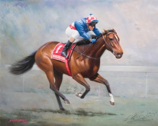 Makybe Diva - the first thoroughbred to win the Melbourne Cup three times - in 2003, 2004 & 2005.